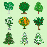 Pixel art trees collection  objects Royalty Free Stock Photography