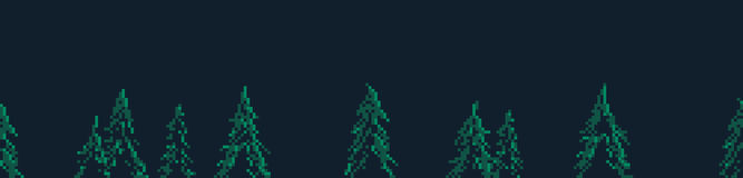Pixel Art Trees. Pixel art seamless background with many spruce trees Stock Images