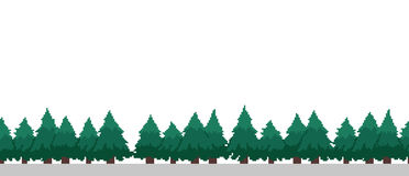 Pixel Art Trees. Pixel art seamless background with many spruce christmas trees Royalty Free Stock Photography