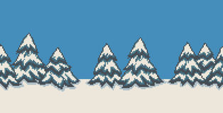 Pixel Art Trees. Pixel art seamless background with many spruce christmas trees in snow Royalty Free Stock Photo