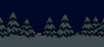 Pixel Art Trees. Pixel art seamless  background with many spruce christmas trees in snow at night Stock Image