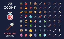 Pixel art vector game design icon video game interface set. Weapons, food, items, potion, magic. Pixel art vector game design icon video game interface set royalty free illustration