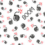 Pixel art vector objects to create Fashion seamless pattern. Background with bombs, boom for boys. trendy 80s-90s. Pixel art style Stock Photography