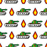 Pixel art vector objects to create Fashion seamless pattern. Background with tanks, boom, for boys. trendy 80s-90s. Pixel art style Royalty Free Stock Images
