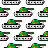 Pixel art vector objects to create Fashion seamless pattern. Background with tanks for boys. trendy 80s-90s   style. Pixel art vector objects to create Fashion Stock Image