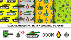 Pixel art vector objects to Fashion seamless pattern. Background with tanks, boom, for boys. trendy 80s-90s   style. Pixel art vector objects to Fashion seamless Stock Photo