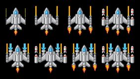Pixel Art Video Arcade Game Cartoon dell'astronave illustrazione di stock