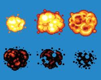 Pixel Art Video Game Explosion Animation Vector Frames. Isolated Stock Image