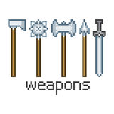 Pixel art weapons Royalty Free Stock Photography