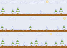 Pixel art winter day background Royalty Free Stock Image