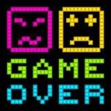 Pixel-arte de 8 bits Arcade Game Over Message retro Vector EPS8 stock de ilustración
