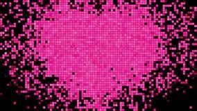 Pixel auf Digital-Schirm mit Herz-Form-Schlagen Geschlungene Animation 3D HD 1080 stock abbildung