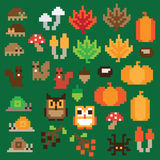 Pixel autumn icon set in vector Stock Image