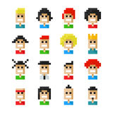 Pixel avatar icons Royalty Free Stock Image