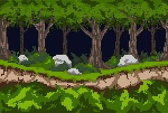 Pixel background with a dark forest, a path along the ravine and thickets of bushes with stones. stock illustration