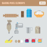 Pixel baking elements, isolated game vector icon set. Various pixel baking elements, isolated game vector icon set Stock Images