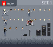 Pixel band. Vector pixel band building kit, with random heads. Make your pixel band Stock Image