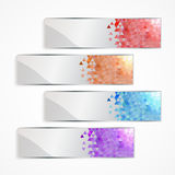 Pixel banner set. Modern multicolored pixel banner set Stock Photo