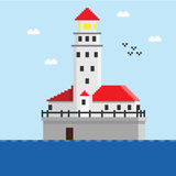 Pixel beacon in sea Royalty Free Stock Images