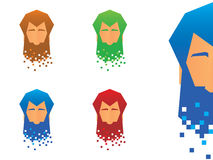 Pixel Beard Icons Royalty Free Stock Photography