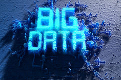Pixel Big Data Concept. A 3D render of a microscopic closeup concept of small cubes in a random layout that build up to form the word BIG DATA illuminated Royalty Free Stock Image