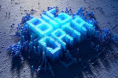 Pixel Big Data Concept. A 3D render of a microscopic closeup concept of small cubes in a random layout that build up to form the word BIG DATA illuminated Stock Photo