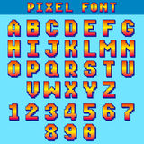 Pixel 8 bit letters and numbers vector game font, digital alphabet, typeface. Alphabet and number typeface illustration Stock Illustration