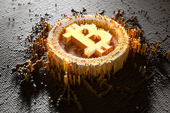 Pixel Bitcoin Concept. A 3D render of a microscopic closeup concept of small cubes in a random layout that build up to form the bitcoin symbol illuminated Stock Photos