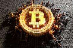 Pixel Bitcoin Concept. A 3D render of a microscopic closeup concept of small cubes in a random layout that build up to form the bitcoin symbol illuminated Stock Photo