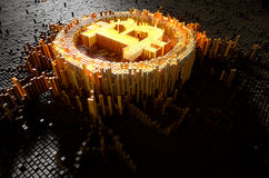 Pixel Bitcoin Concept. A 3D render of a microscopic closeup concept of small cubes in a random layout that build up to form the bitcoin symbol illuminated Royalty Free Stock Photo