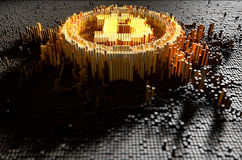 Pixel Bitcoin Concept. A 3D render of a microscopic closeup concept of small cubes in a random layout that build up to form the bitcoin symbol illuminated Royalty Free Stock Image
