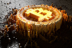 Pixel Bitcoin Concept. A 3D render of a microscopic closeup concept of small cubes in a random layout that build up to form the bitcoin symbol illuminated Stock Images