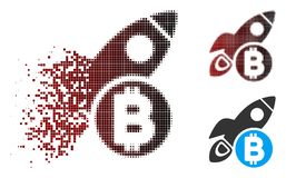 Pixel Bitcoin di semitono Rocket Icon della polvere Immagine Stock Libera da Diritti