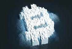 Pixel bitcoin Symbol Cyptocurrency-Konzept Digital-Geldsymbol Abbildung 3D Stockfoto