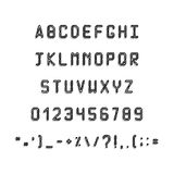 Pixel black font. Simple Letters and symbols. Royalty Free Stock Photo