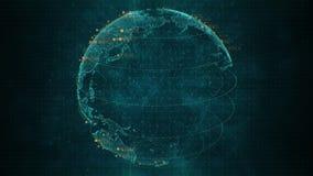 Pixel blauwe 3D aarde met grote gegevensanimatie Roterende bol, glanzende continenten met het drijven aantallen Samenvatting stock video