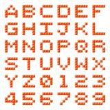 Pixel-Block-Alphabet-Buchstaben und Zahlen Stockfoto