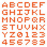 Pixel Block Alphabet Letters and Numbers. Alphabet letters and numbers made out of red pixel blocks royalty free illustration