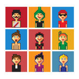 Pixel boys avatar. Set. Pixel art royalty free illustration