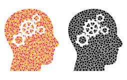 Pixel Brain Gears Mosaic Icons royalty illustrazione gratis