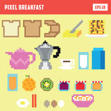 Pixel breakfast, isolated vector icon set. With various breakfast items Stock Photography