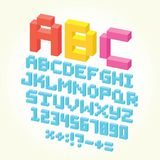 Pixel brick font isolated vector set Royalty Free Stock Image