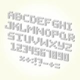 Pixel brick font isolated vector set Stock Photo