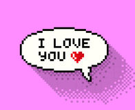 Pixel bubble with'I love you' Royalty Free Stock Images