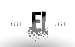 Pixel-Buchstabe-Logo E-I E-I mit Digital zerbrochenen schwarzen Quadraten Stockfotos