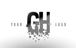Pixel-Buchstabe-Logo Handhabung am Boden G H mit Digital zerbrochenen schwarzen Quadraten lizenzfreie abbildung