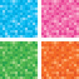 Pixel Button Set. Neon Pixelated Square Button Set Stock Photography