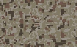 Pixel camo background. Seamless camouflage pattern. Military texture. Desert brown color. Vector fabric textile print designs royalty free illustration