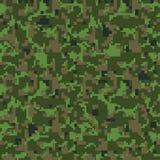 Green pixel seamless camo pattern. Military khaki camouflage texture. stock illustration