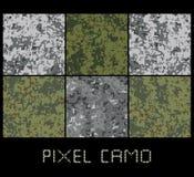 Pixel camo großer Satz nahtlosen Musters Grün, Wald, Dschungel, städtisch, Brauntarnungen Lizenzfreie Stockbilder